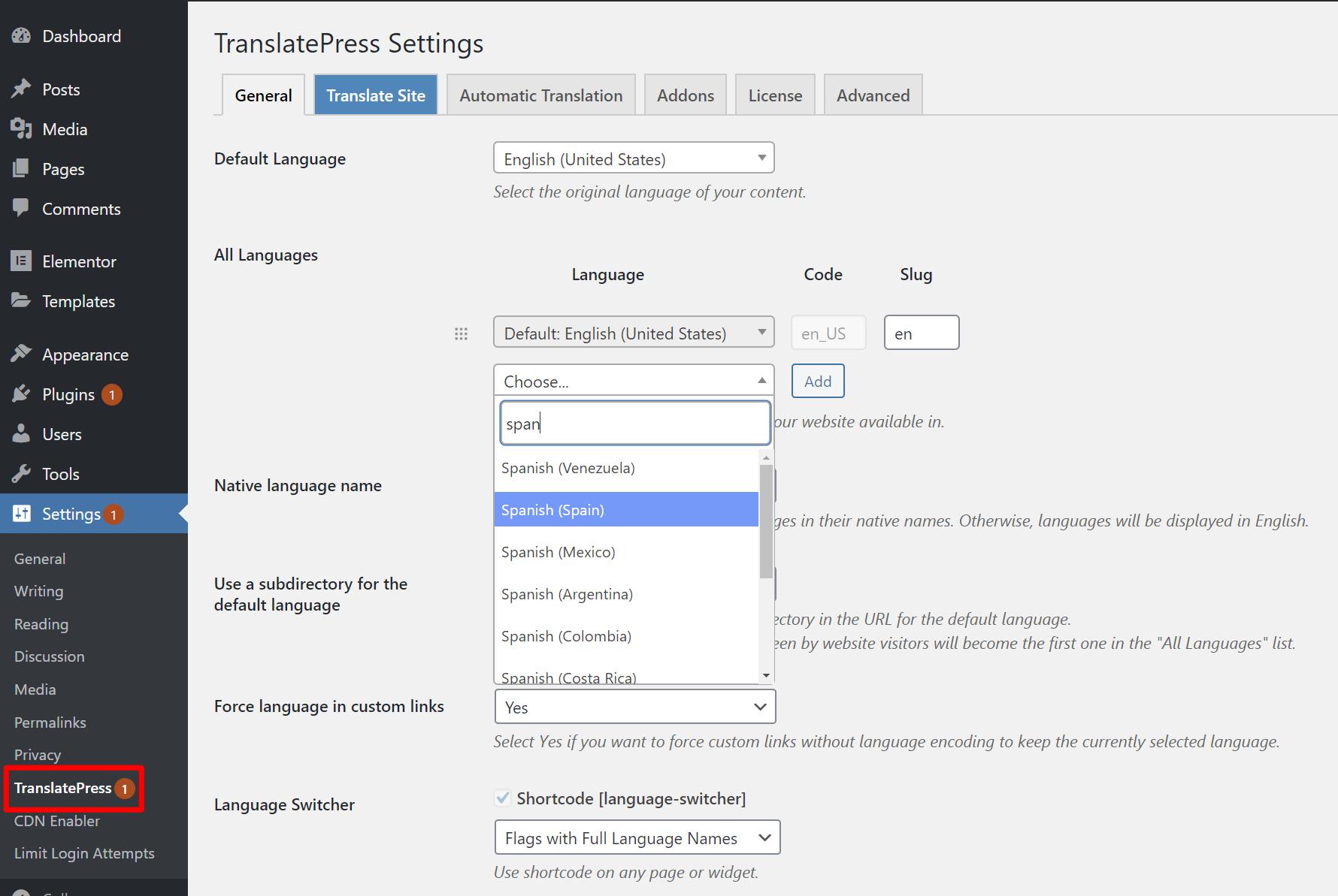 Choose language in translatepress
