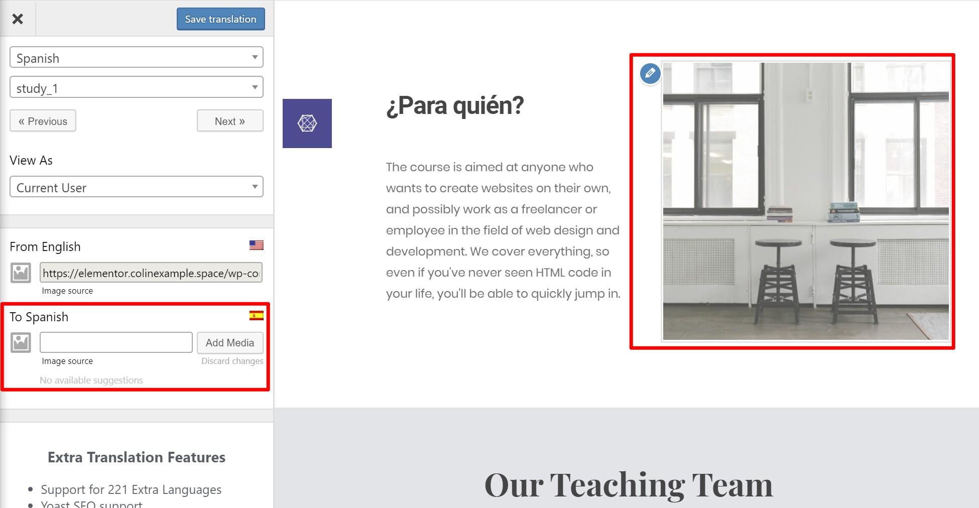 Translate Elementor image on site