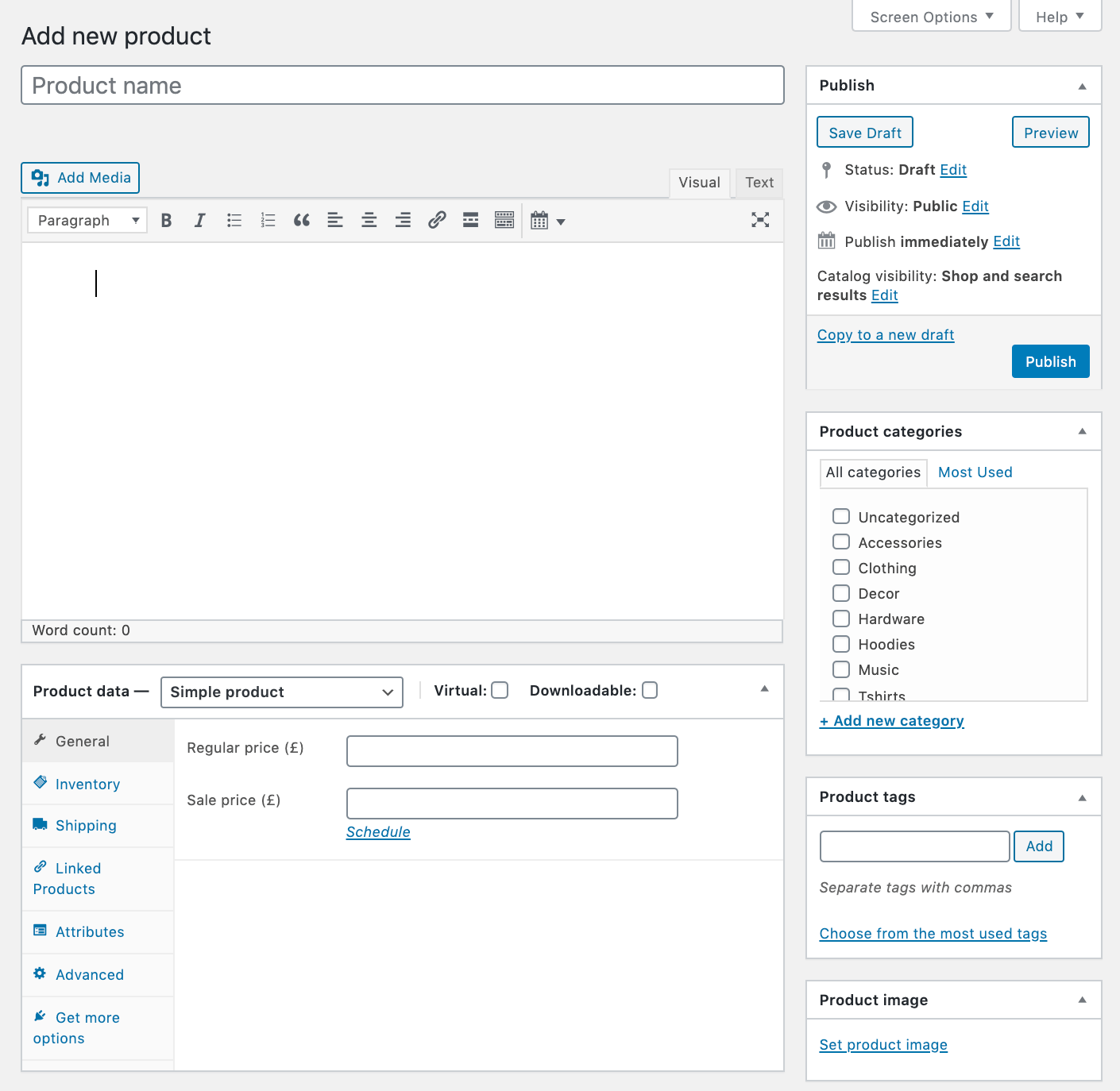 Adding the details for a new product in WooCommerce.
