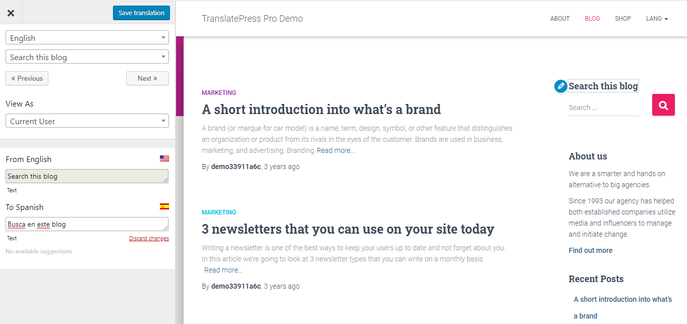 Translate Widgets WordPress using TranslatePress