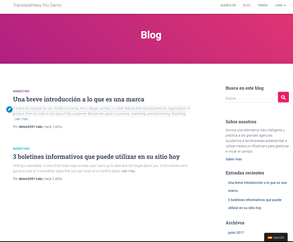 Blog with translated widgets