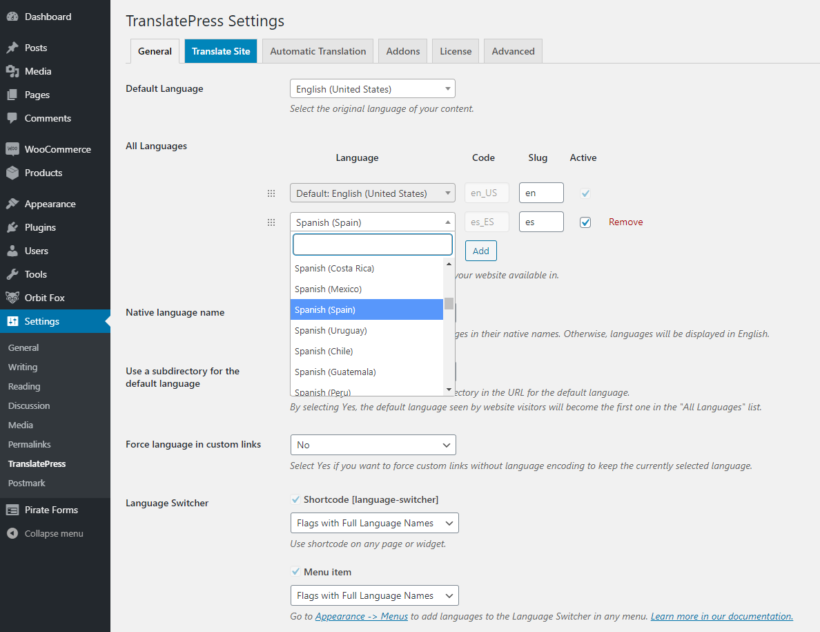 Add new translation language in TranslatePress