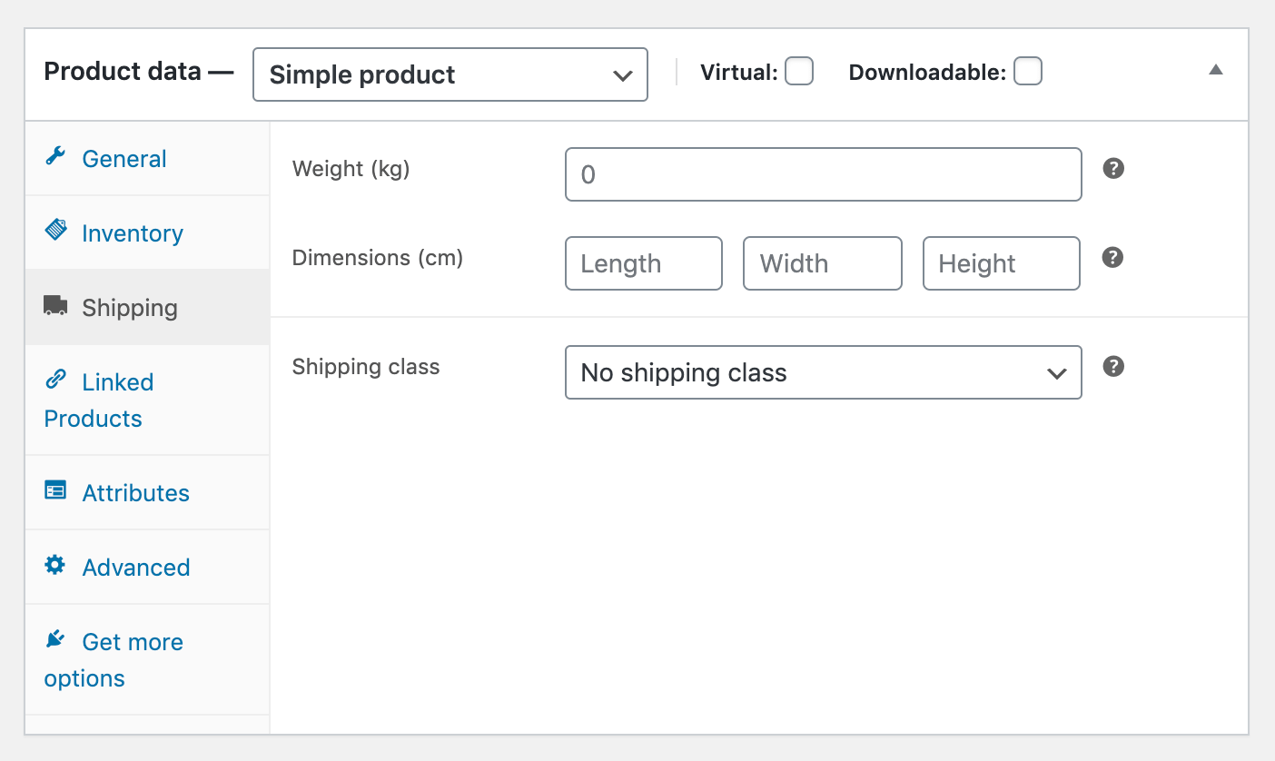 WooCommerce product shipping details.