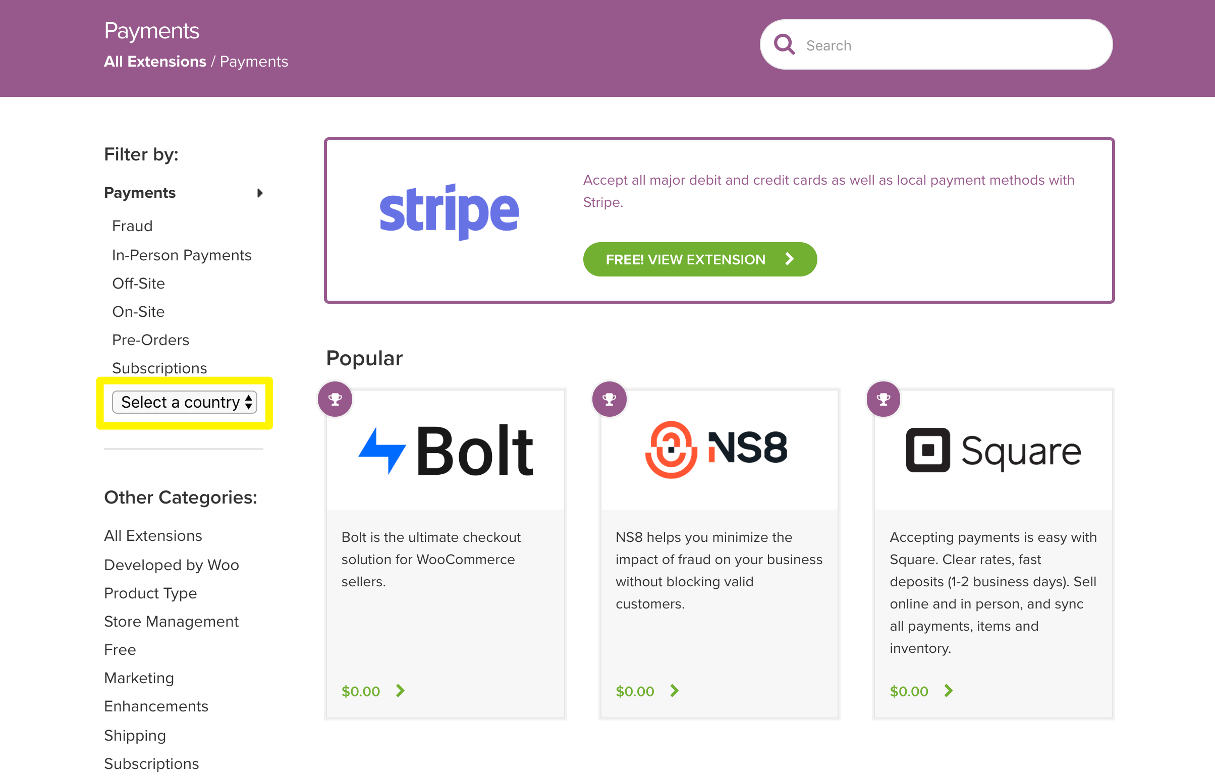 The country search feature for payment gateways in the WooCommerce extensions marketplace.