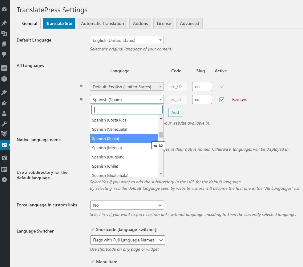 Add New Language in TranslatePress Settings