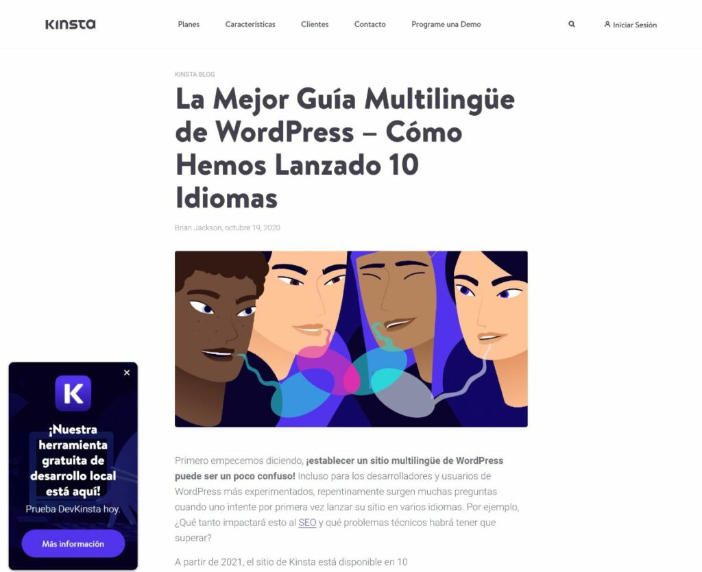 Kinsta multi language website example