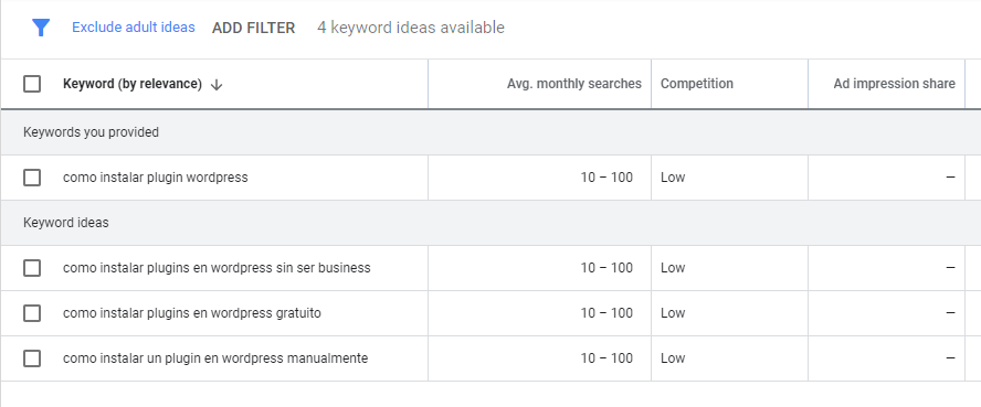 Doing keyword research in Spanish using Keyword Planner.