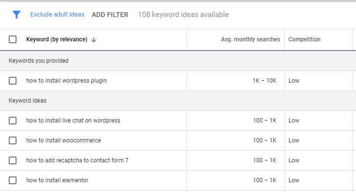 Doing keyword research in English using Keyword Planner.