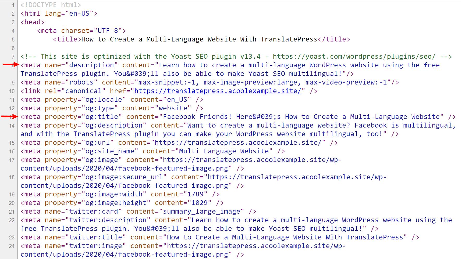 Yoast SEO metadata in native language