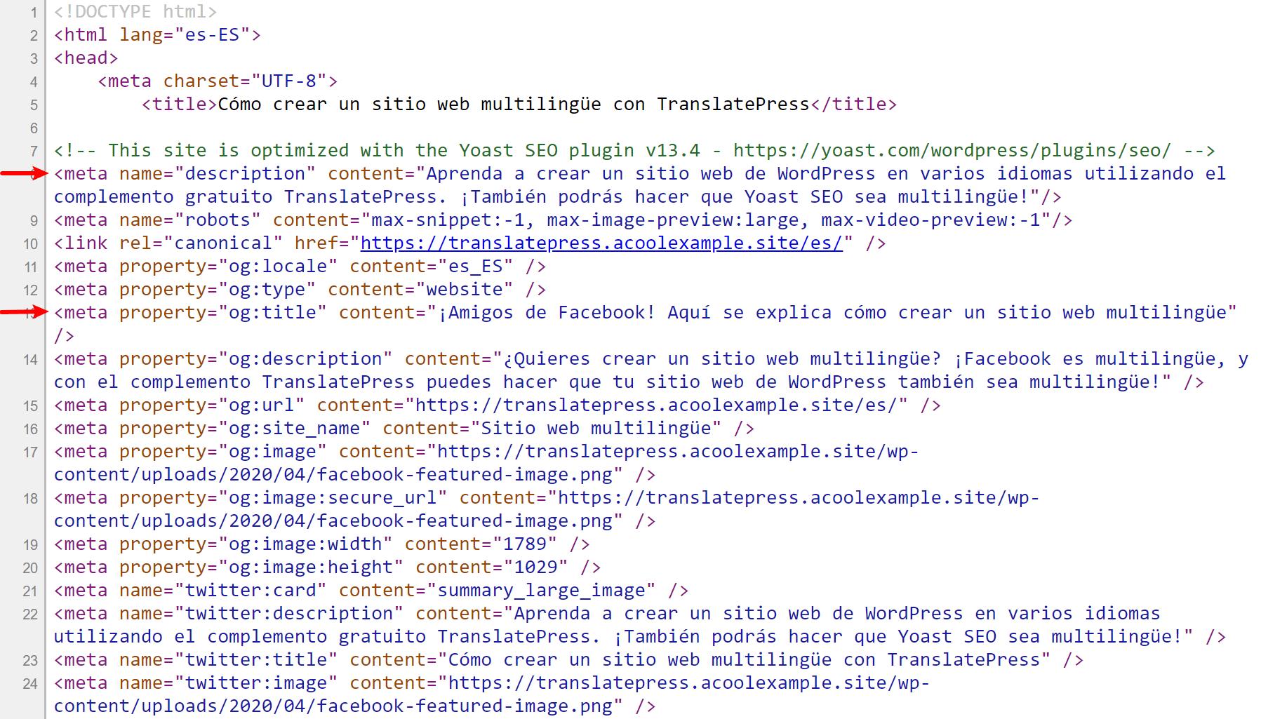 translated yoast seo metadata