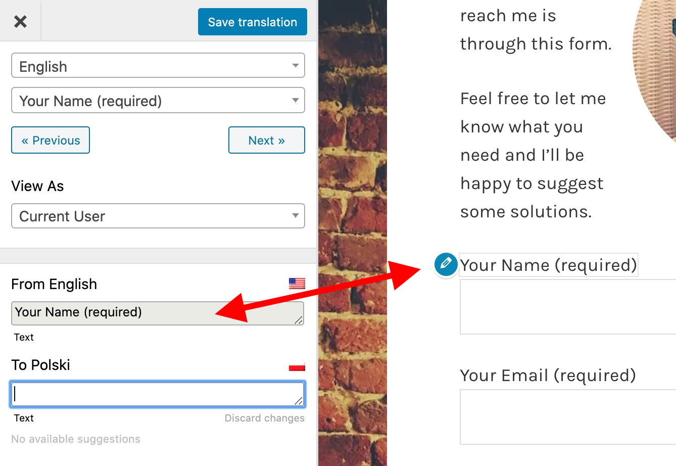 best way to translate a website: translate contact forms