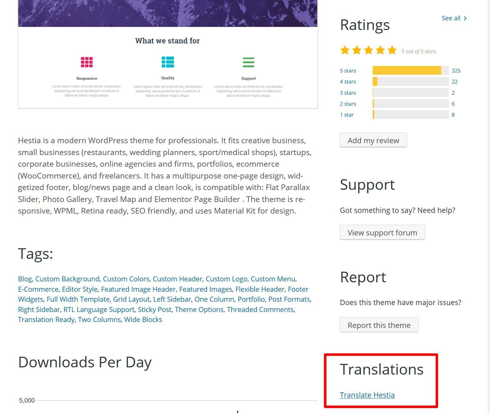 Access translations list