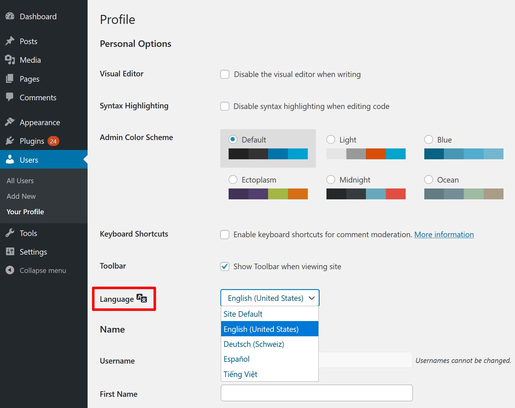 Change dashboard language