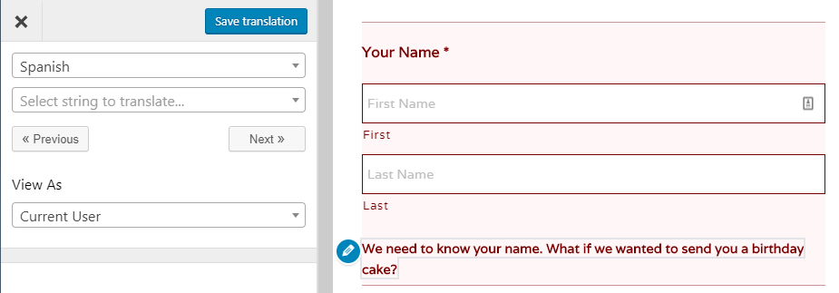An example of a form validation message.