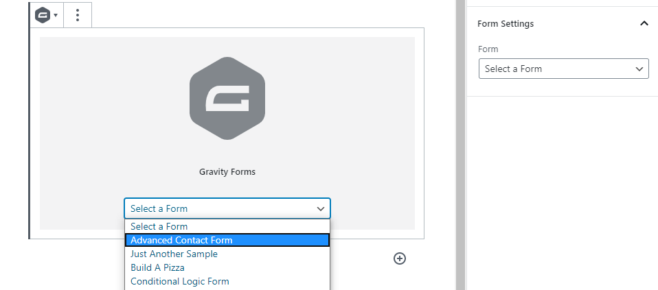 Selecting which form to embed.