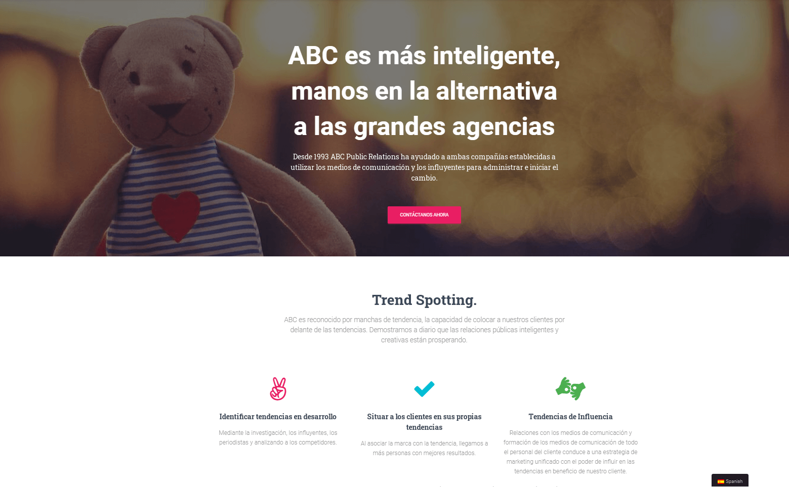 An example of a site translated into Spanish.