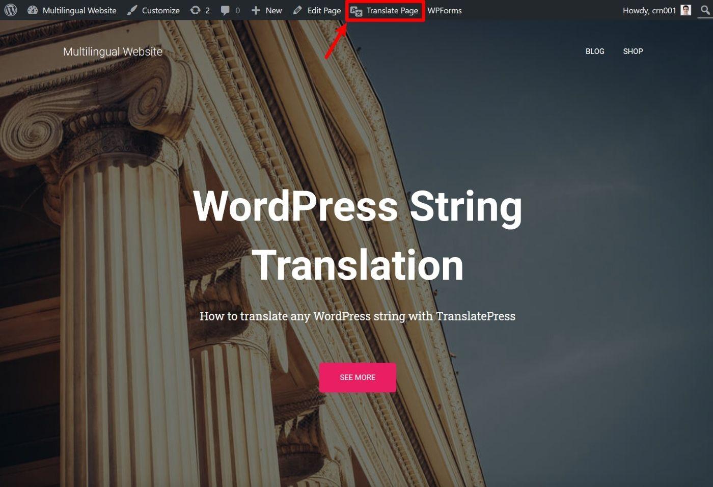 Open translation editor