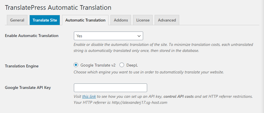 Automatic translation with TranslatePress.