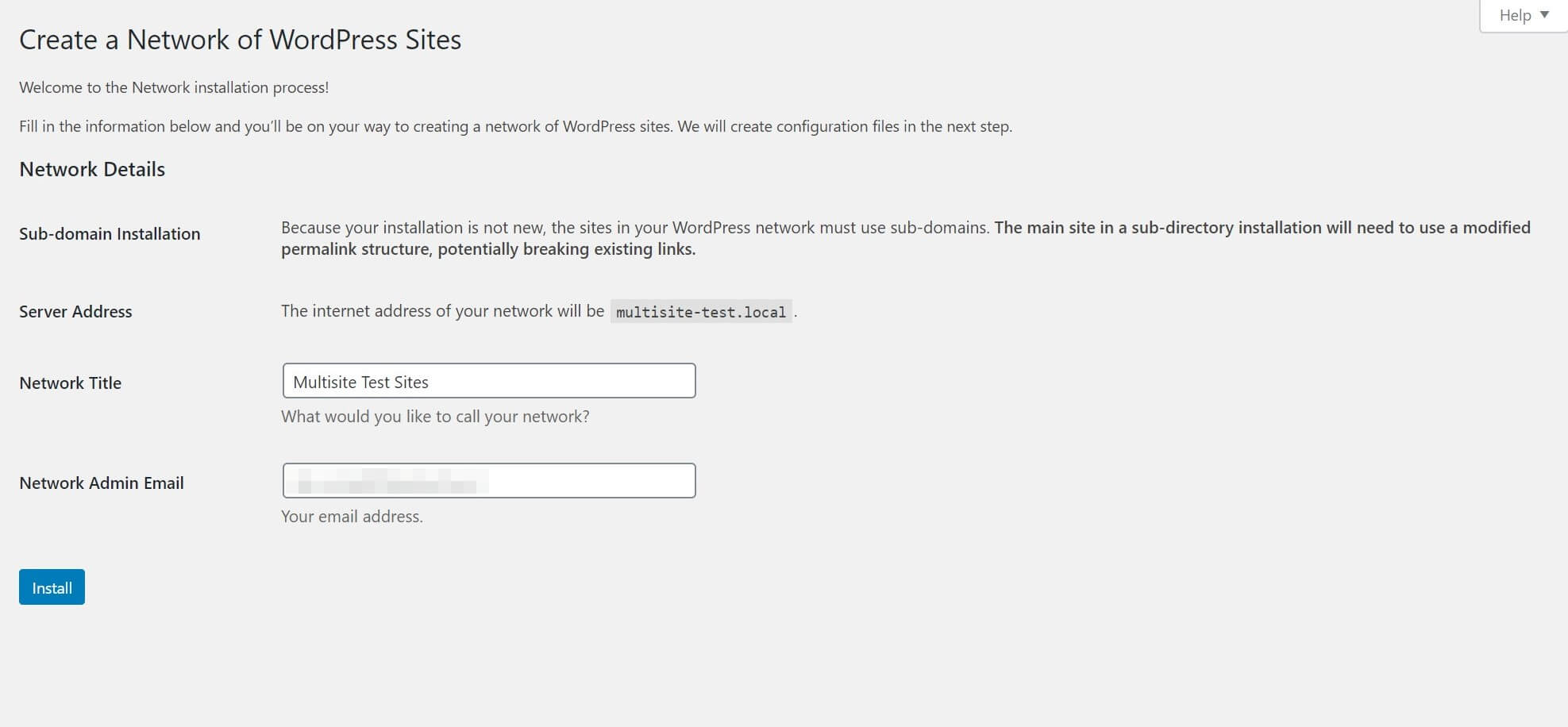 The WordPress multisite network creation screen.