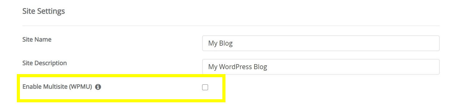 The Enable Multisite checkbox in the WordPress installer.