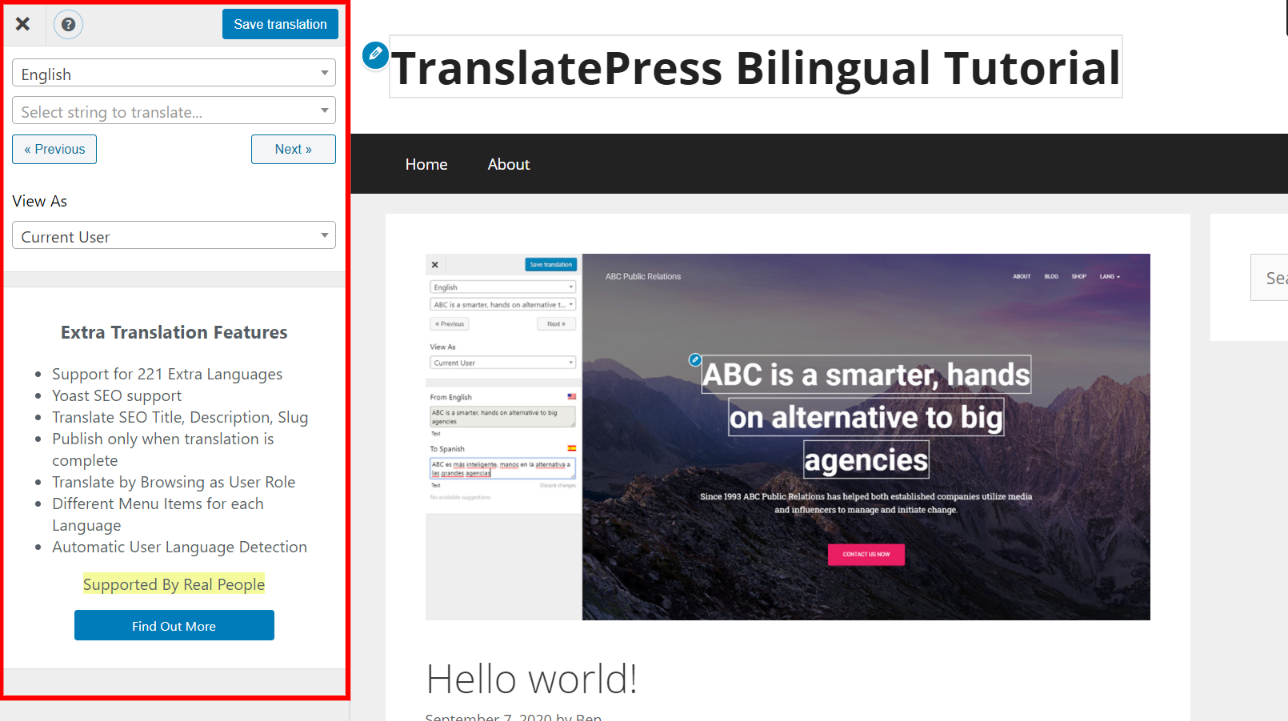 Editing text for your Bilingual WordPress website