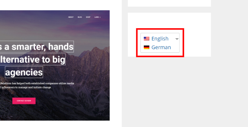 Bilingual website Language switcher in Sidebar