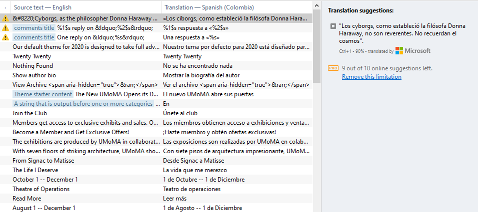 Editing a WordPress language file using Poedit.