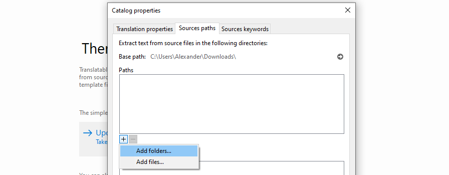 Selecting which folder to extract data from using Poedit.