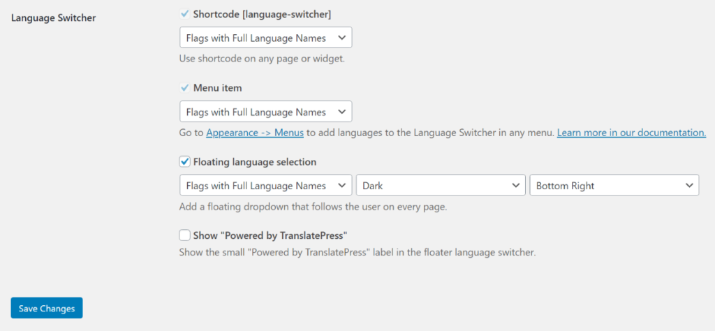 Configure language switcher