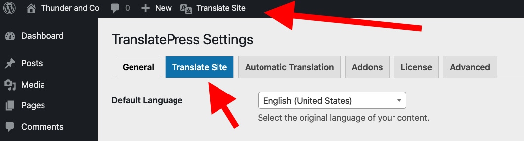 TranslatePress translate site buttons