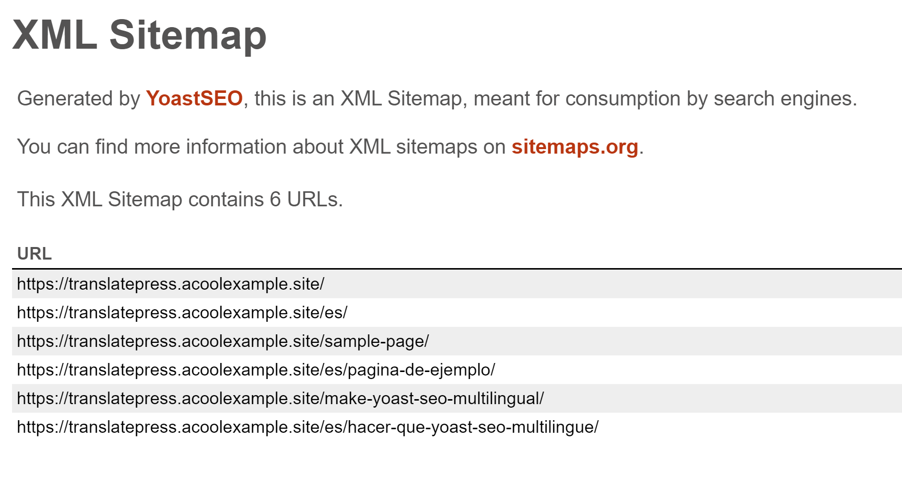 Accessing your multilingual sitemap