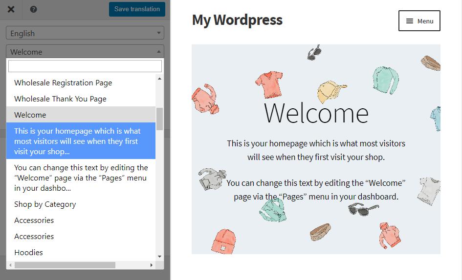 Accessing the translator's string menu