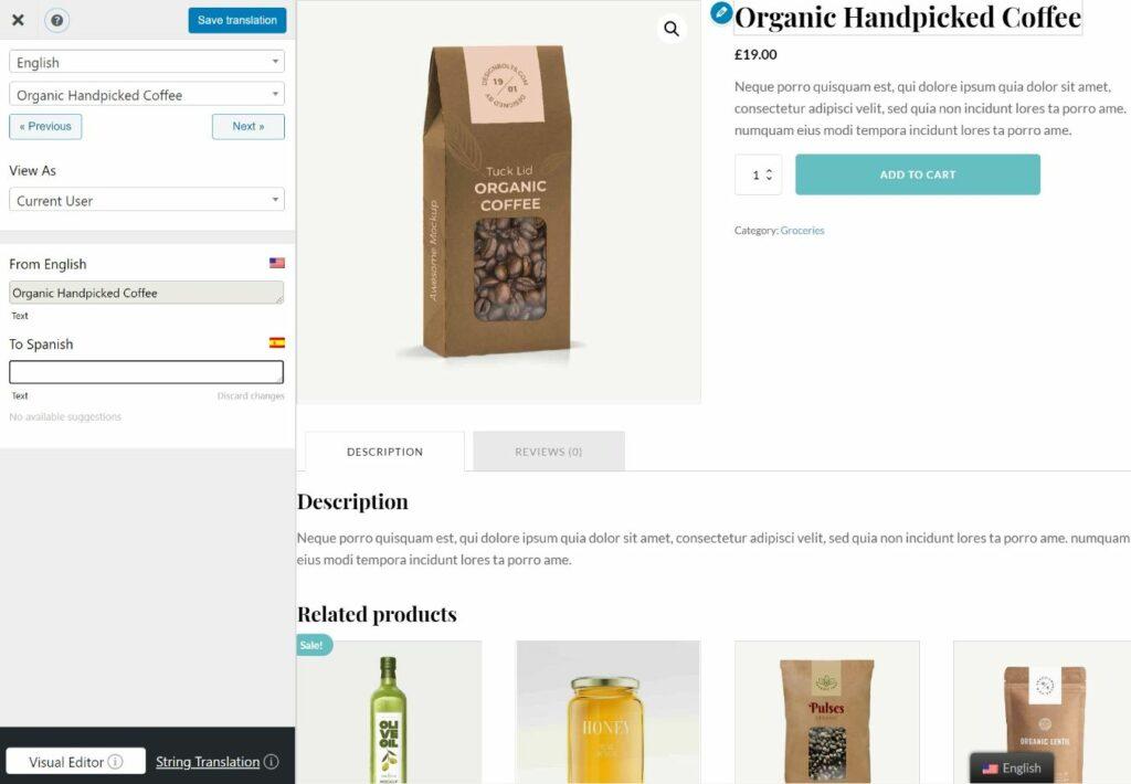 Oxygen WooCommerce product block translation