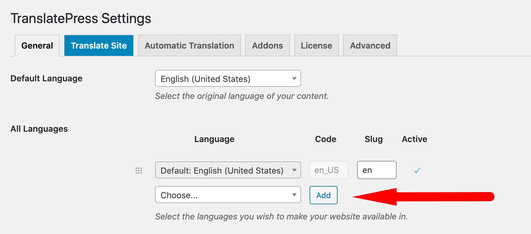 add language to TranslatePress free
