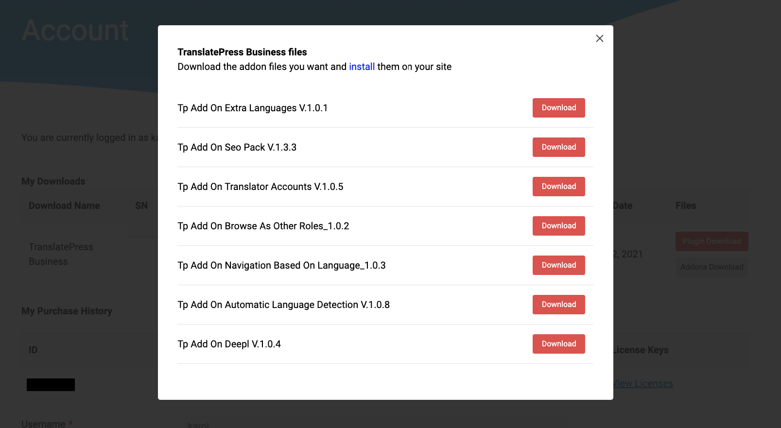 download add ons for TranslatePress pro
