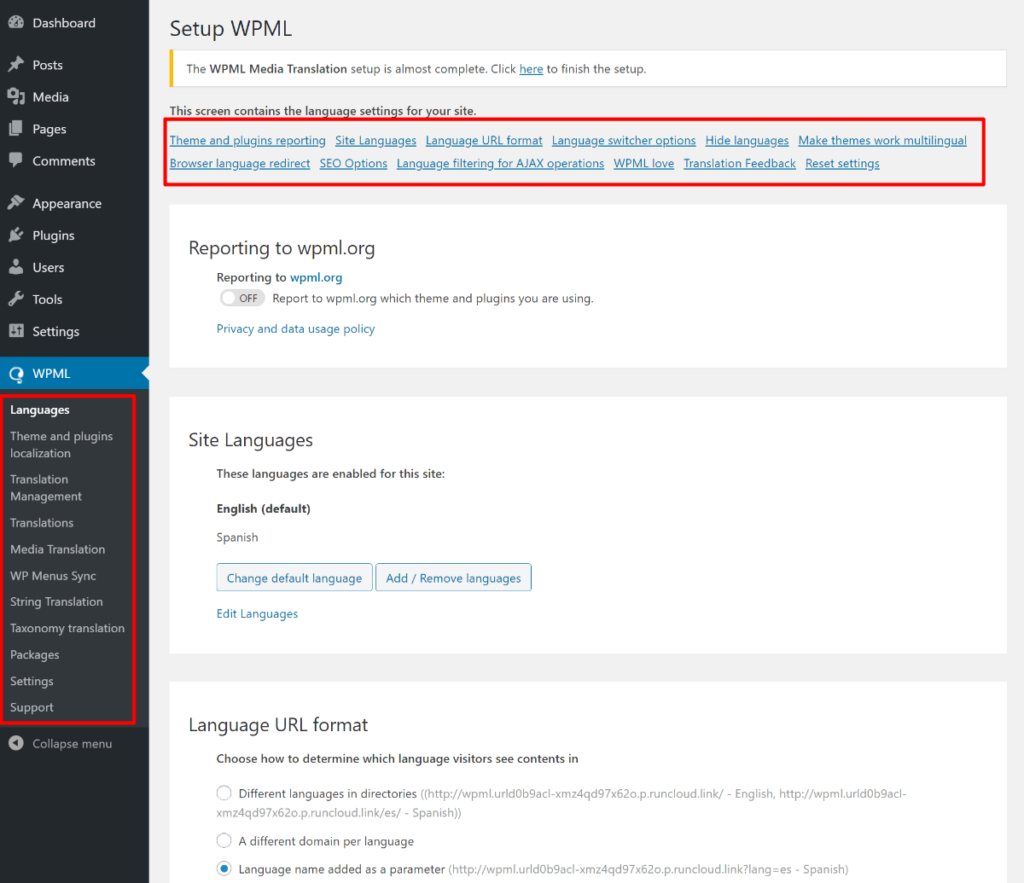 WPML settings