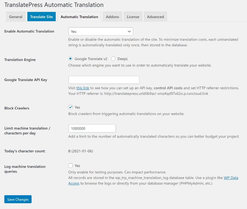 TranslatePress automatic translation