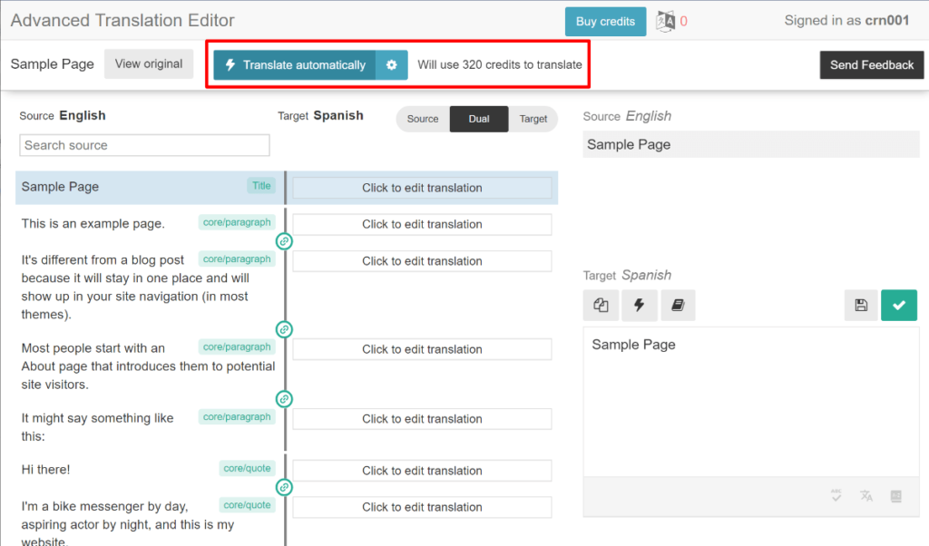 WPML automatic translation