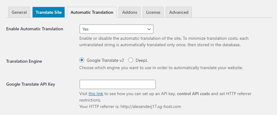 Using machine translation with TranslatePress.