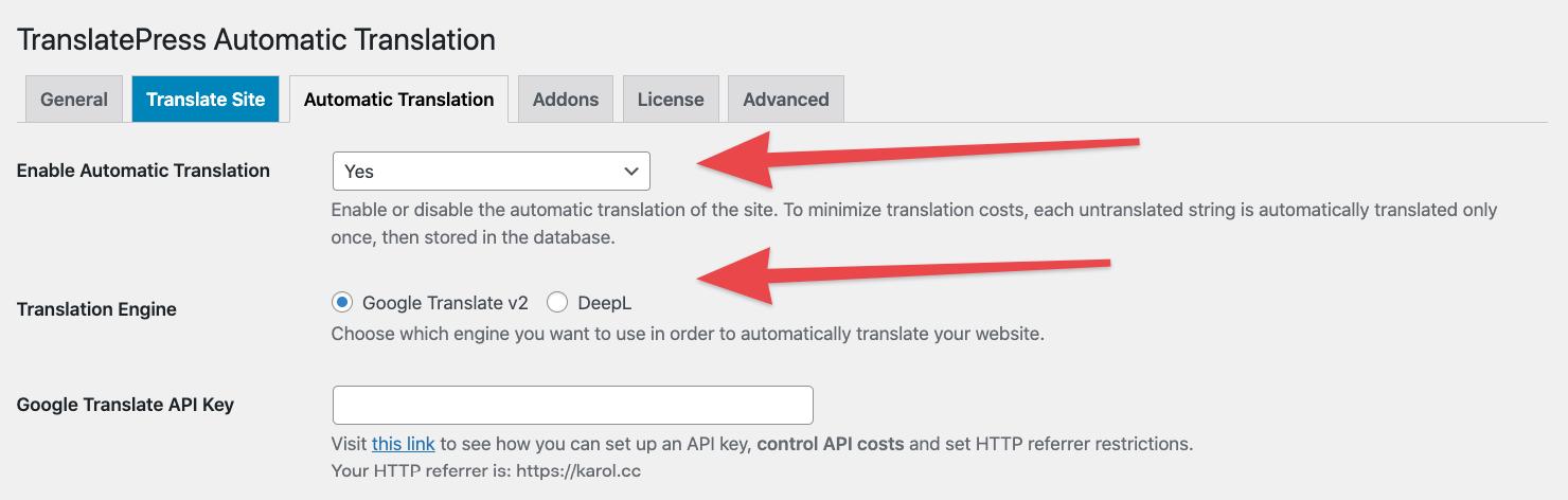Automatic translation in TranslatePress