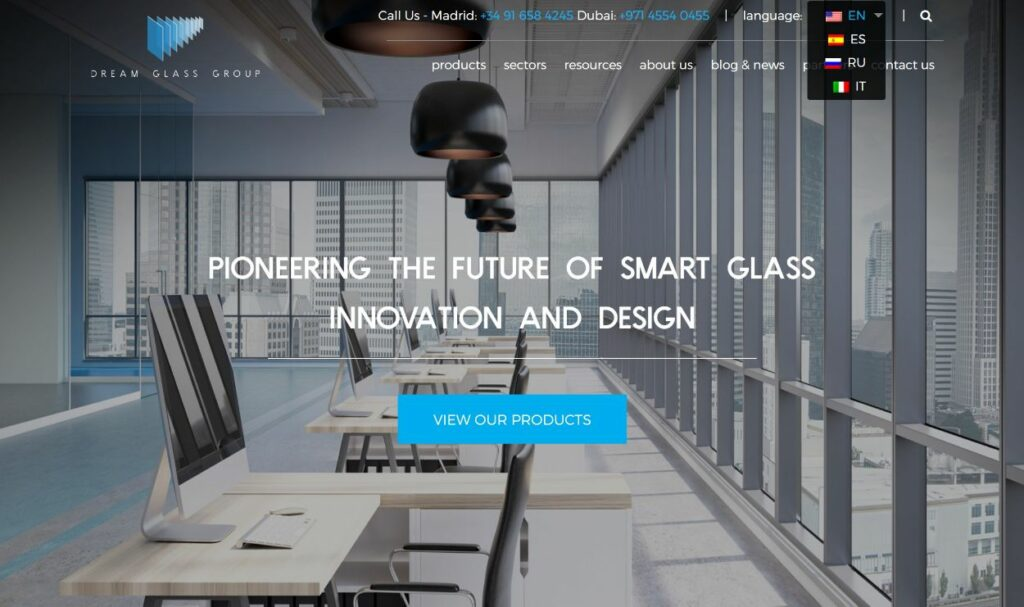 Dream Glass Group multilingual website example