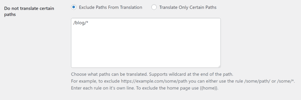 Example translation to exclude blog posts
