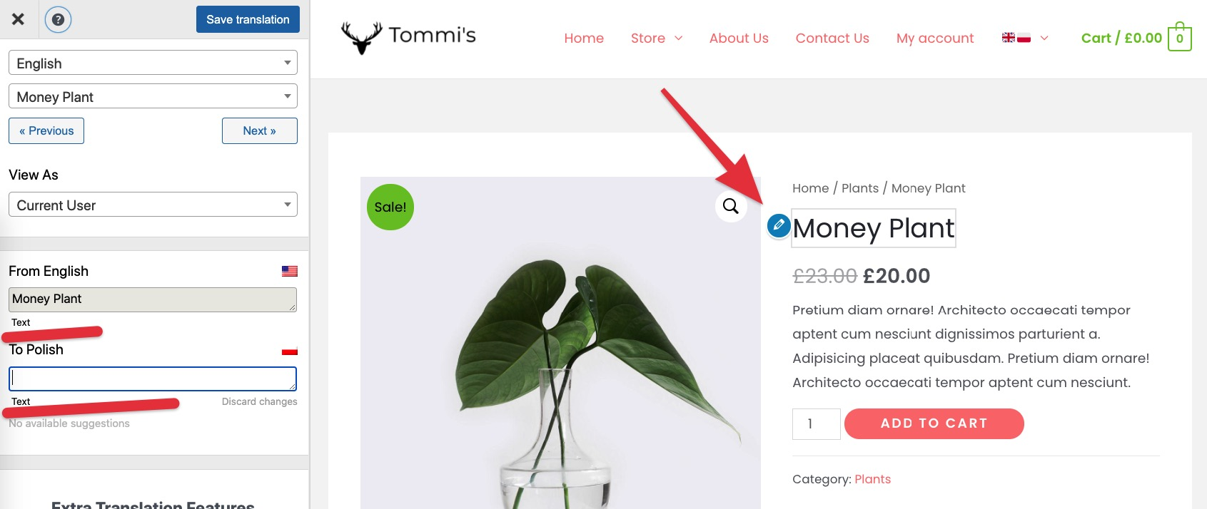 Translate product name with your WooCommerce multilingual plugin