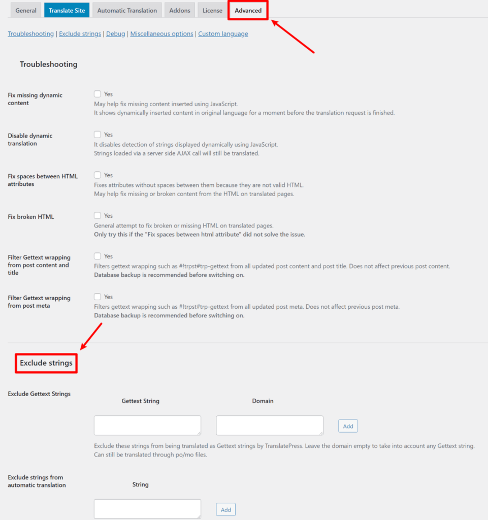 How to exclude WordPress content from translation