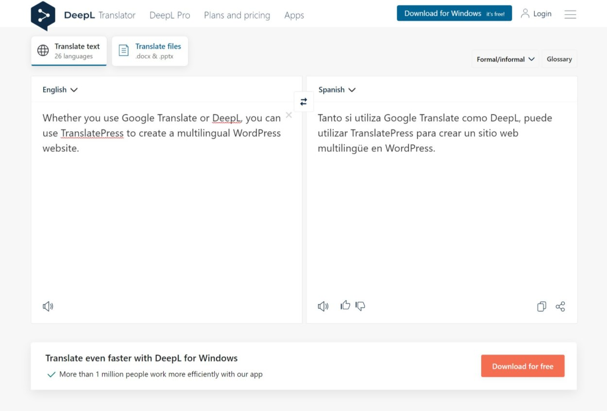 DeepL web interface