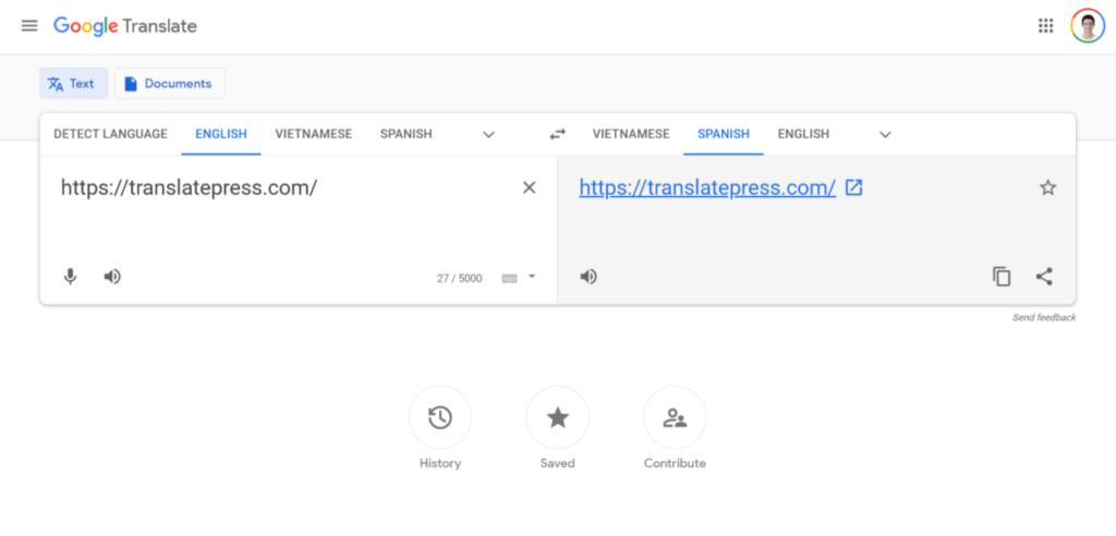 Google Translate free website translation tool