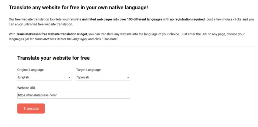 TranslatePress free website translation tool