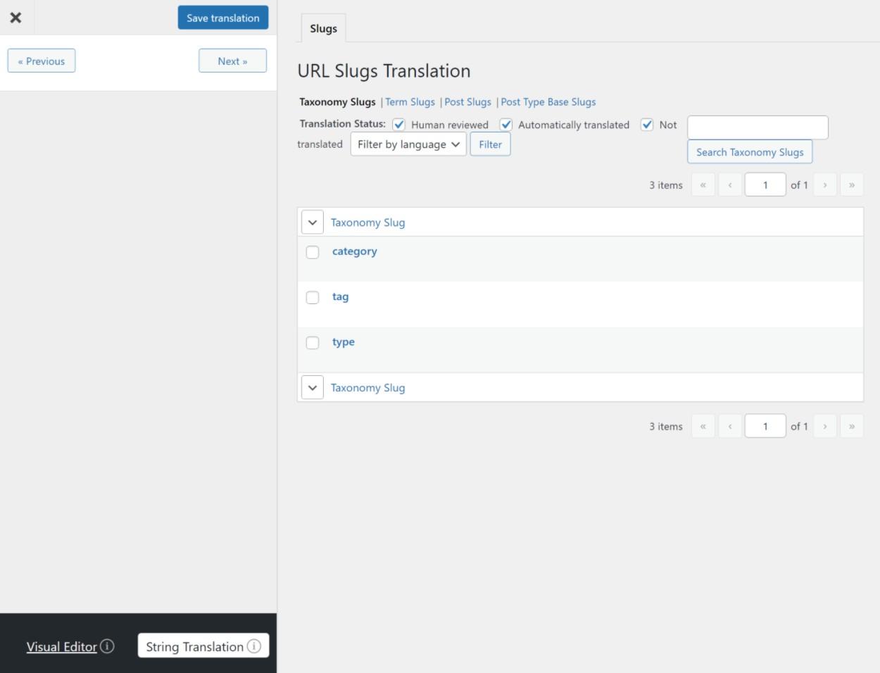 Translate sitewide URL slugs