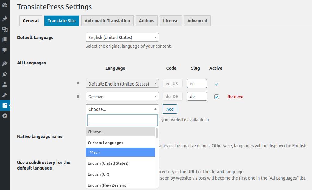 Custom Language listed in All Languages dropdown TranslatePress